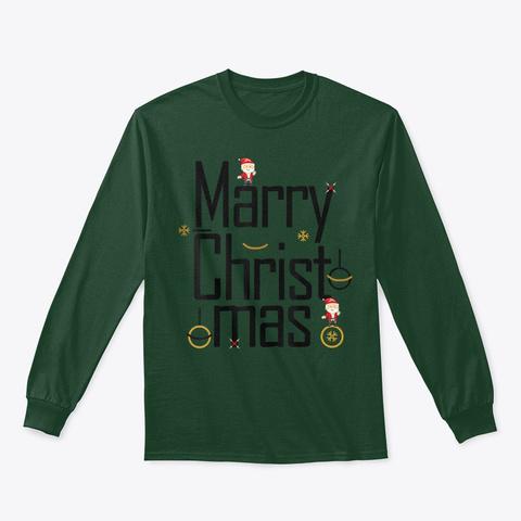 Merry Christmas T Shirt Forest Green T-Shirt Front