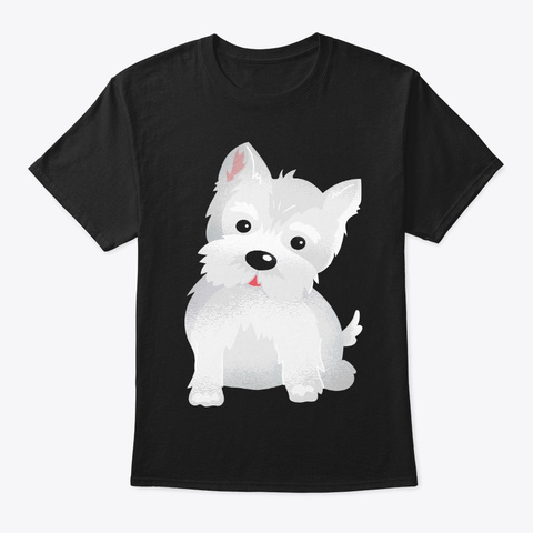 Cute Westie Face Gift For Dog Lover Black T-Shirt Front