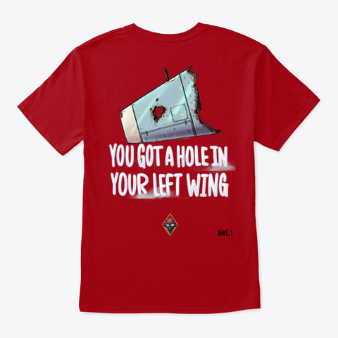 Hole In Left Wing Deep Red T-Shirt Back