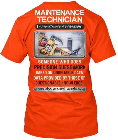Awesome Maintenance Technician Shirt Orange Maglietta Back