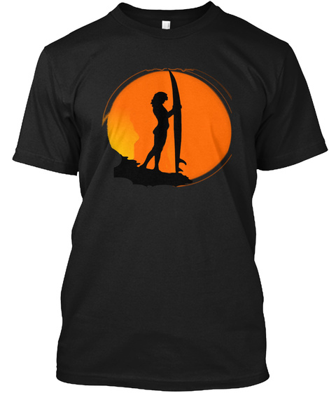 Surfer Girl In Sun Surf Tshirts For Men Black T-Shirt Front