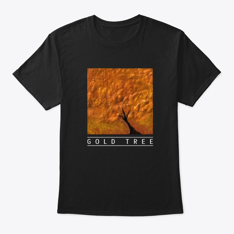 "Abstract Art Design ""Gold Tree"" Black T-Shirt Front"