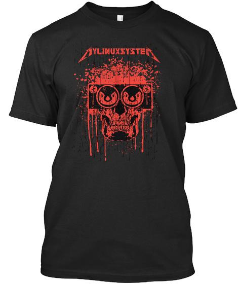 My Linux System (Eu) Black T-Shirt Front