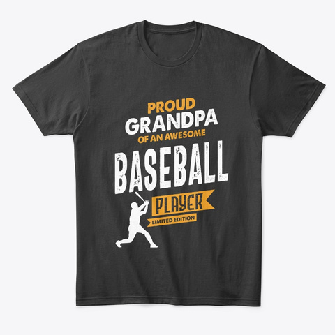 Grandpa Of An Awesome Baseball Player Black T-Shirt Front
