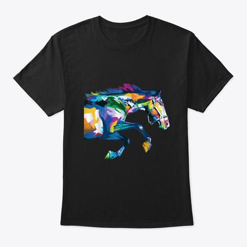 Colorful Horse Cute Geometric Horses Black T-Shirt Front