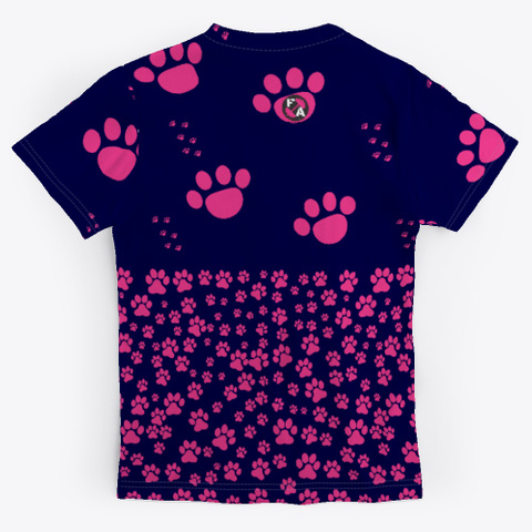 Pink Doggy Paws  Dark Navy T-Shirt Back