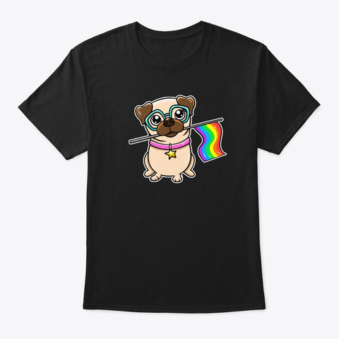Pug Gifts Gay Pride Flag Lgbt Equality Black T-Shirt Front