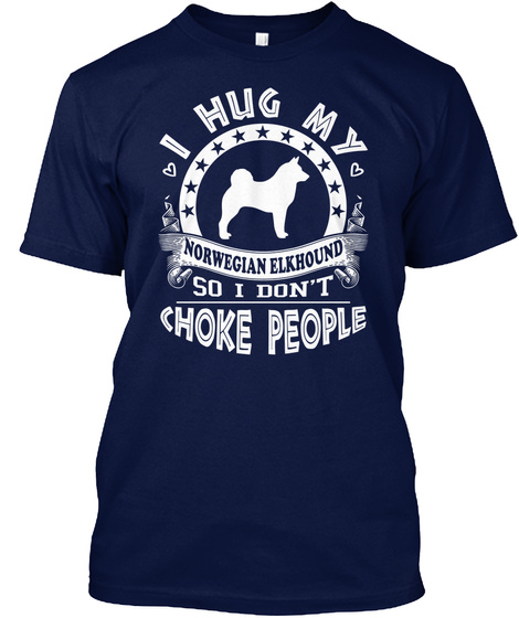 Norwegian Elkhound Navy T-Shirt Front