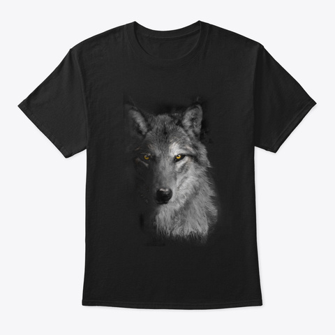Wolf Half Face Black T-Shirt Front