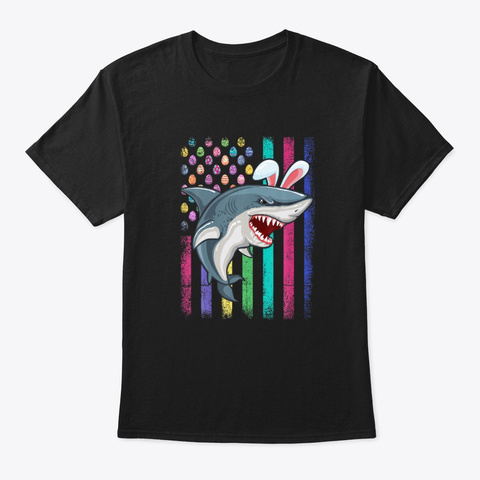 American Easter Day Egg Flag Bunny Shark Black T-Shirt Front