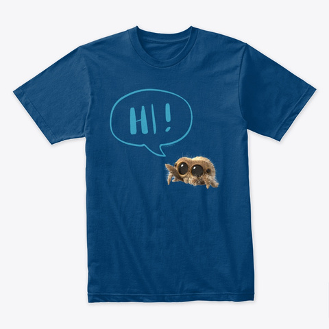 "Lucas The Spider ""Hi!"" (Blue) Cool Blue T-Shirt Front"