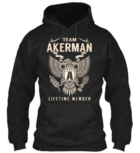 Team Akerman Lifetime Member Black T-Shirt Front