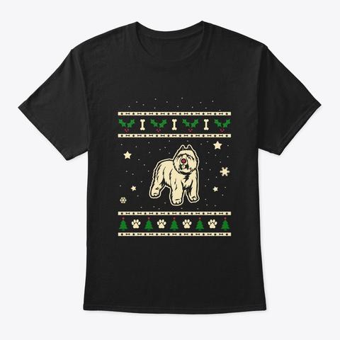 Christmas Bouvier Des Flandres Gift Black T-Shirt Front