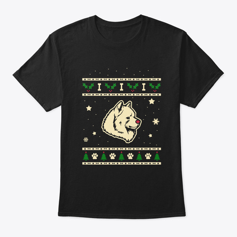Christmas Samoyed Gift Black T-Shirt Front