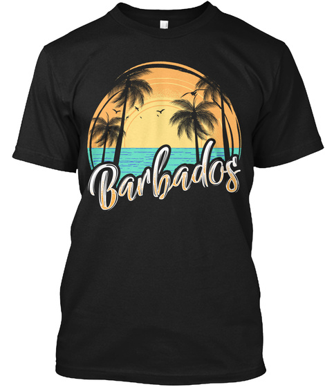 Barbados With Palm Trees Black T-Shirt Front