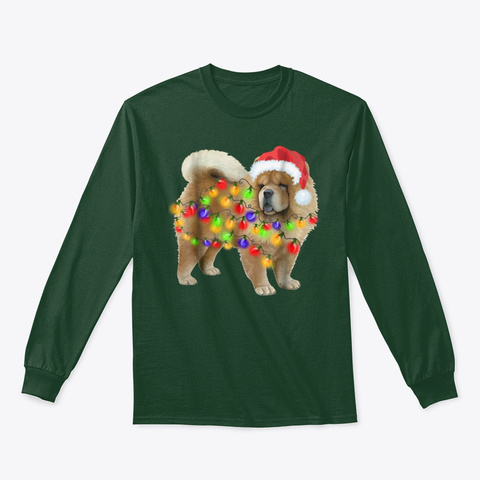 Chow Chow Christmas T Shirt Gifts Cute Forest Green T-Shirt Front