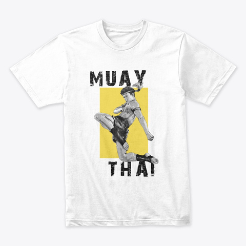 Muay Thai Fighter White T-Shirt Front