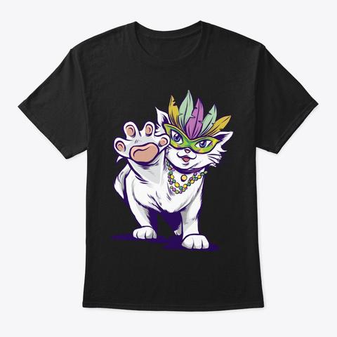Mardi Gras Gift For Cat Lover Black T-Shirt Front