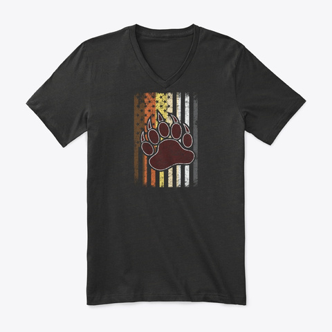 Bear American Flag Foot Gay Pride Lgbt Black T-Shirt Front