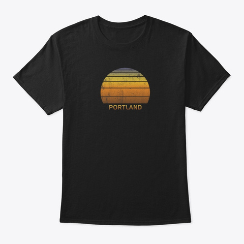 Retro Portland Oregon Vintage Sunset Black T-Shirt Front