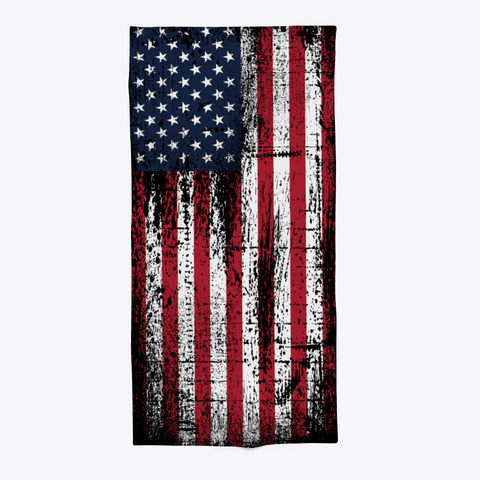 American Flag Distressed Beach Towel Black T-Shirt Front
