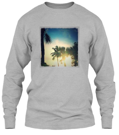 Florida Palms And Sunset Sport Grey T-Shirt Front