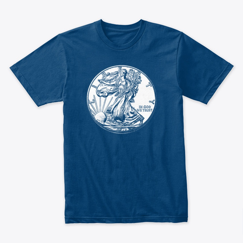 Us Ag Silver Eagle (Dark) Cool Blue T-Shirt Front