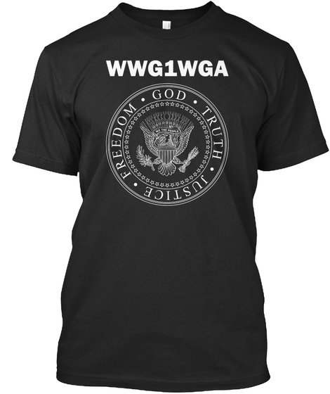Wwg1wga God Truth Justice Freedom Black T-Shirt Front