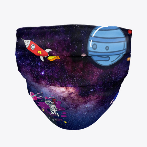 Cartoon Space Galaxy Black T-Shirt Front