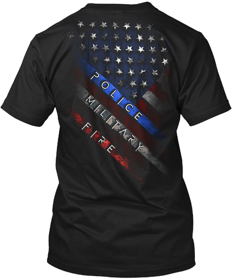 Police Military Fire Black T-Shirt Back