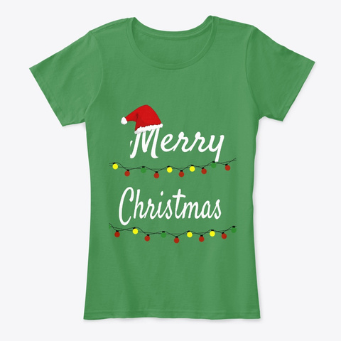 Merry Christmas Santa Hat And Lights  Kelly Green  T-Shirt Front