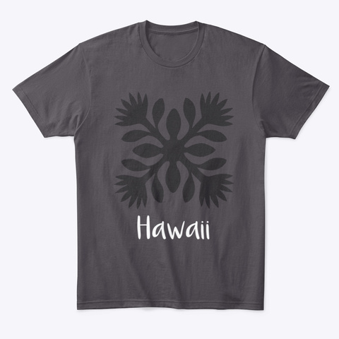 Hawaiian Motif Tee2 Heathered Charcoal  T-Shirt Front