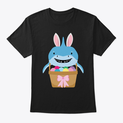 Funny Cute Shark Hunt Easter Bunny Black T-Shirt Front