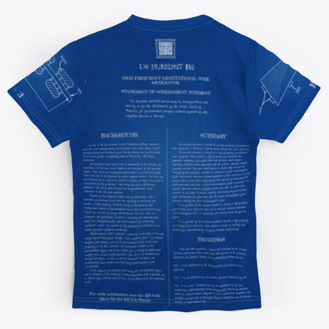 Ufo Patent: Gravitational Wave Generator Standard T-Shirt Back