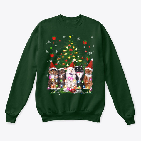 Cat Christmas Funny Shirt  Deep Forest  T-Shirt Front