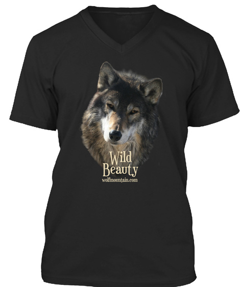 Wild Beauty Wolfmountain.Com Black T-Shirt Front