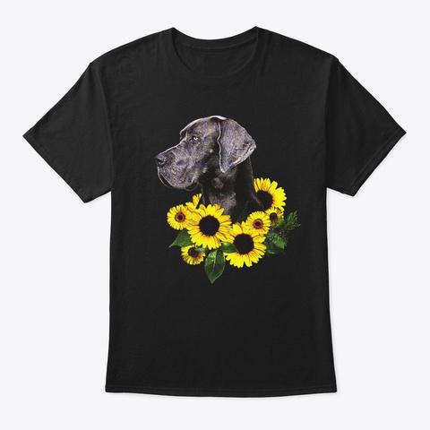 Comic Sunflower Great Dane Lover Gift Black T-Shirt Front