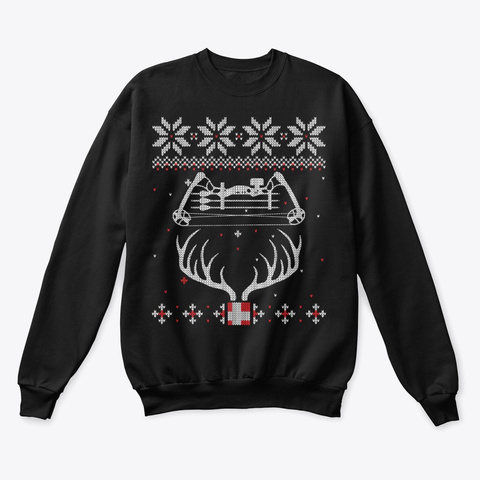 Bow Hunting Lover Ugly Christmas Sweater Black T-Shirt Front