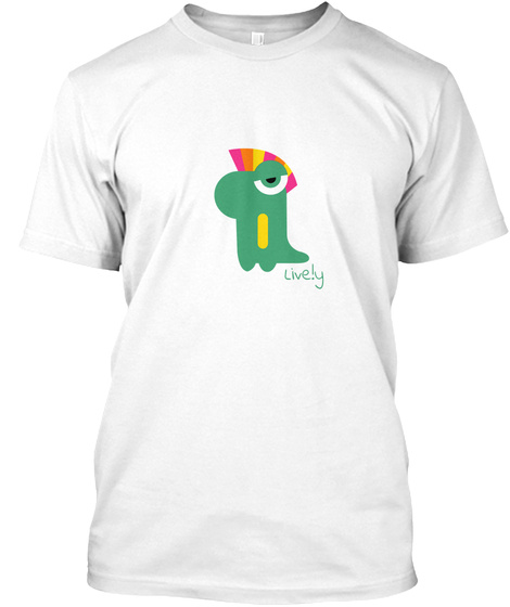 Live.Ly Green Dinosaur White T-Shirt Front