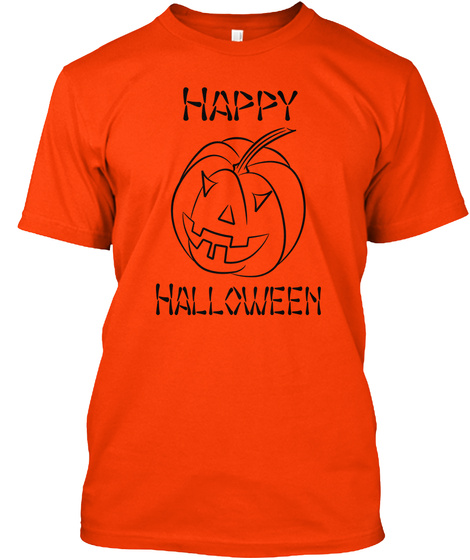 Happy Halloween Orange T-Shirt Front