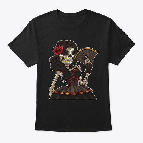 Skeleton Lady Of The Dead | La Calavera Black T-Shirt Front