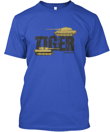 Tiger Panzerpicture Royal Blue T-Shirt Front
