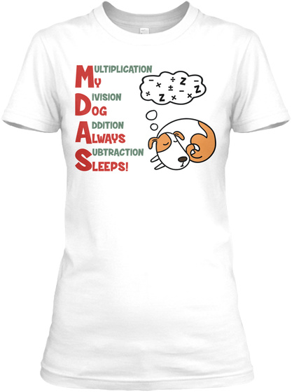 Math Pemdas White T-Shirt Front
