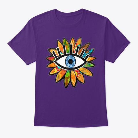Greek Evil Eye Green Flower  Purple T-Shirt Front