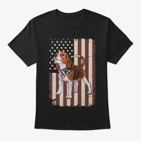Beagle American Flag Bandana Patriotic Black T-Shirt Front