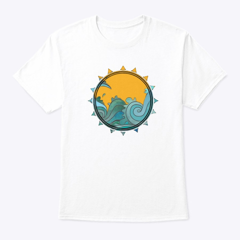 Waves &Amp; Sun White T-Shirt Front