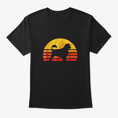 Distressed Retro Sun Silhouette  Dog Black T-Shirt Front