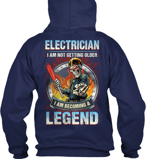 Electrician Becoming A Legend Navy T-Shirt Back