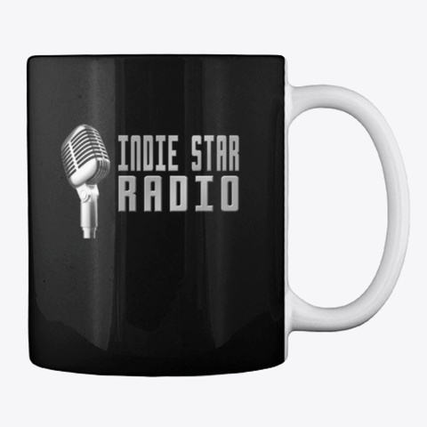 Official Indie Star Radio Mic Coffee Cup Black T-Shirt Back
