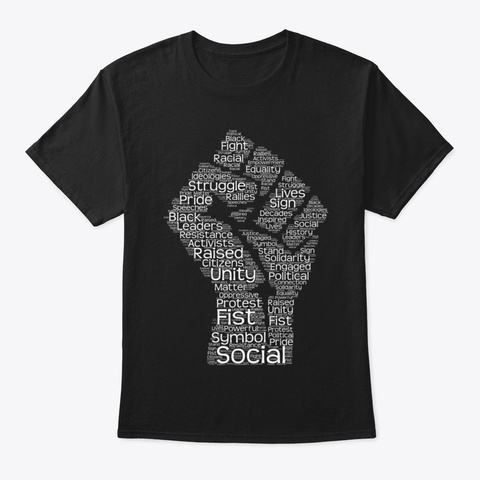 Black History Month S (Word Art) Black H Black T-Shirt Front